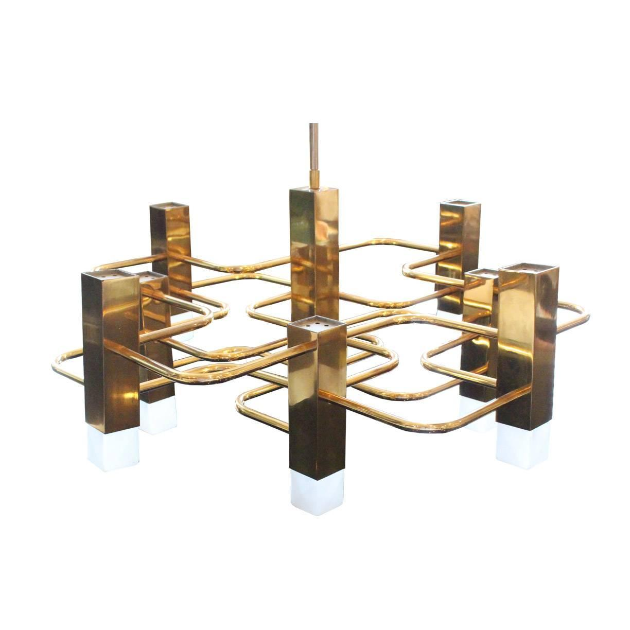 Geometric Brass Chandelier: Nine-Light Boulanger Brass Geometric Chandelier By