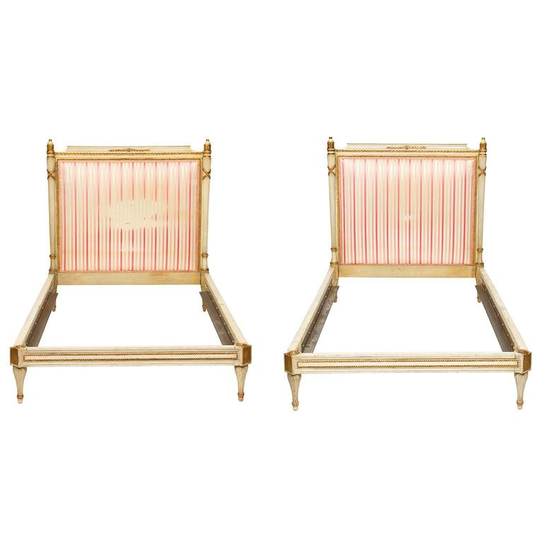 Louis xvi style painted pair of twin beds at 1stdibs for Furniture northgate