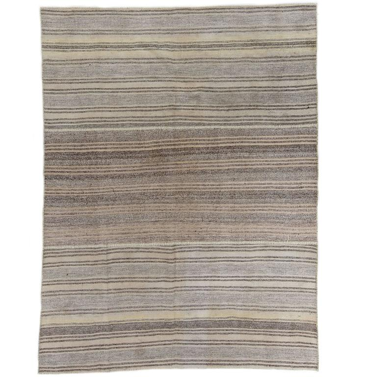 Hemp and Goat Hair Striped Anatolian Kilim For Sale