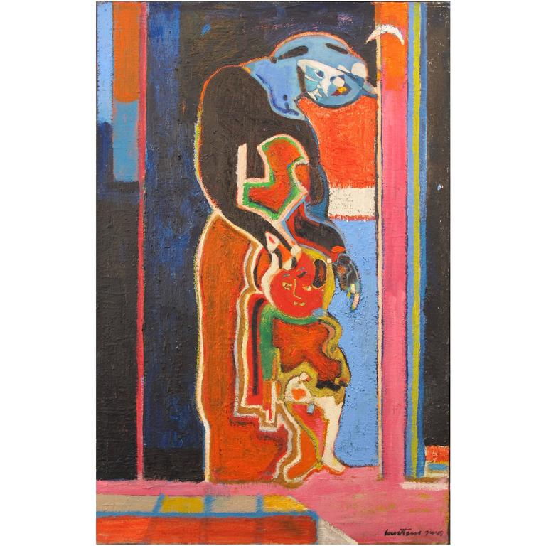 """Painting """"Maternity, 1983"""" by the Artist Pierre Courtens"""