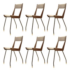 Set of Six Sleek Chairs, Italy, 1950s