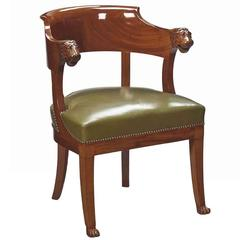 Empire Mahogany Desk Chair, Early 19th Century