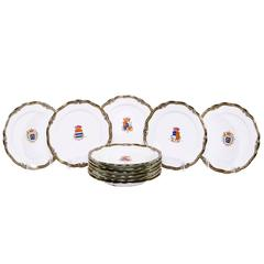 Fine Set of Eleven Sèvres Style Porcelain Heraldic Plates