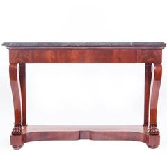 Empire Carved Mahogany Marble-Top Console