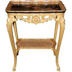 19th Century French Giltwood and Black Lacquered Japanned Table