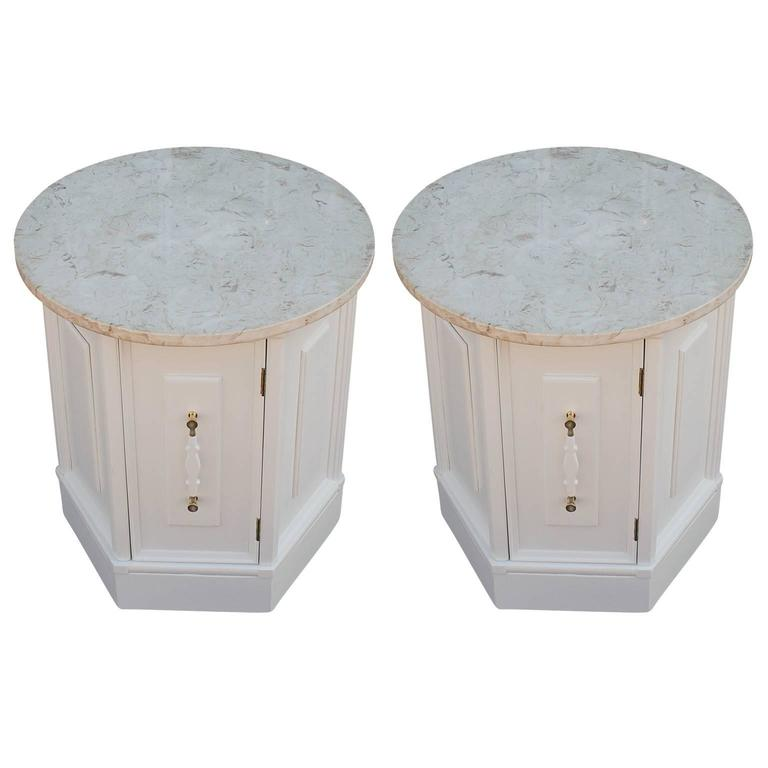 Luxe Pair of Hexagonal Lacquered Side Tables with Round Marble Tops