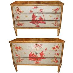 Rare Pair of Important 18th Century Venetian Polychrome Commodes