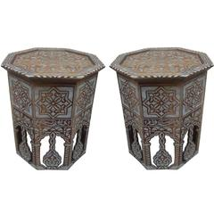Stunning Pair of Mother of Pearl Inlay Side Table