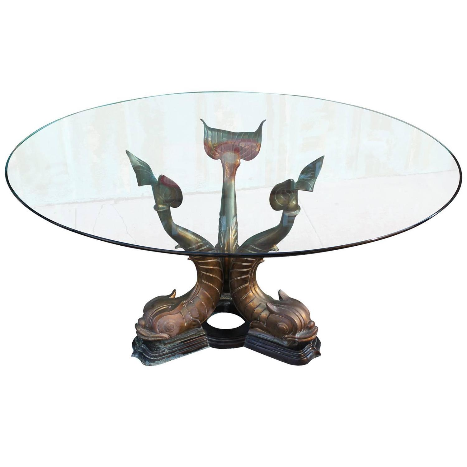 Fabulous Round Brass and Glass Dolphin Fish Dining Table For Sale