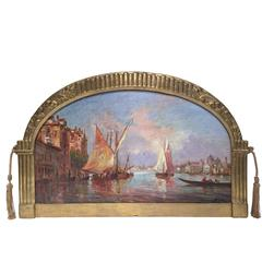 19th Century Signed Venice Oil Painting with Arched Gold Leaf Frame