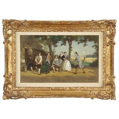 """19th Century French Antique Painting of """"Good Wine"""" by Jean Pezous"""