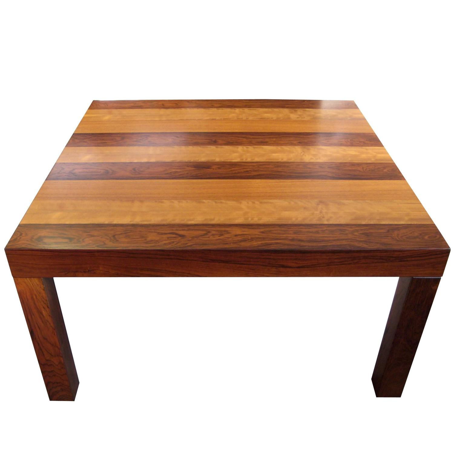 Modern Parsons Square Coffee Table In Strips Of Wood Attributed To