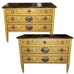 Elegant Pair of 18th Century Neoclassical Luccan Louis XVI Polychrome Commode