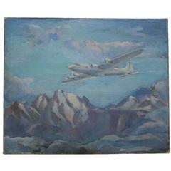 DC-4 Airplane Oil on Canvas, circa 1940