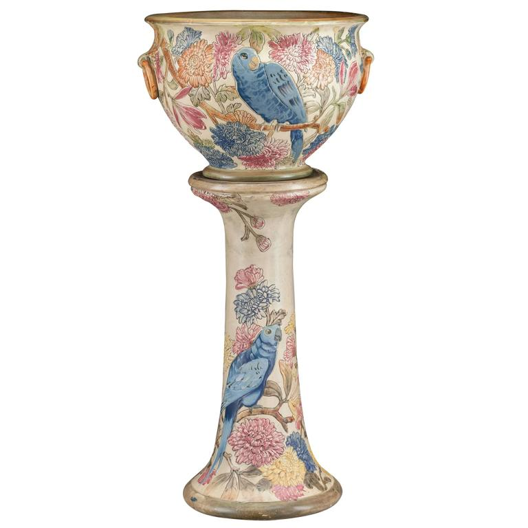 Weller Pottery Parrot Jardiniere and Pedestal, circa 1919