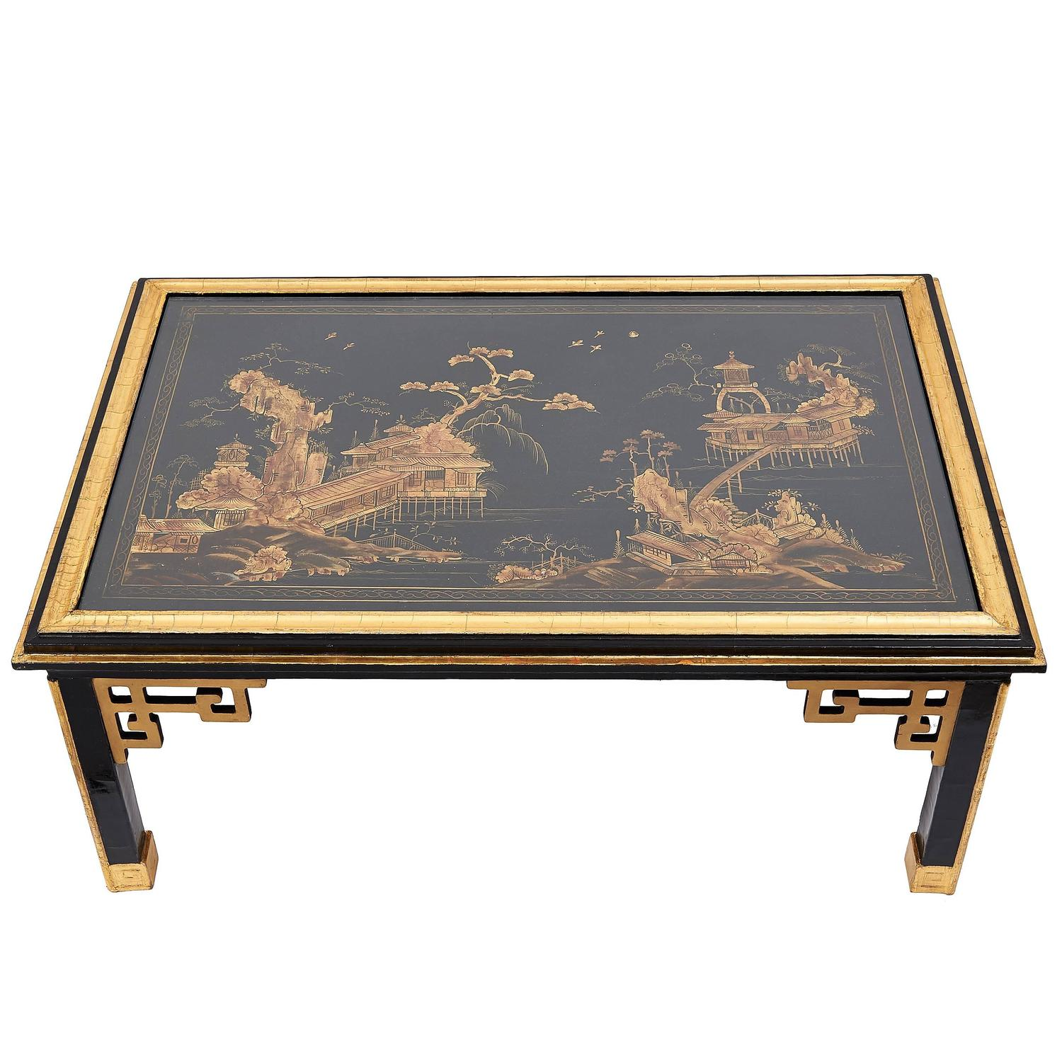 Mid 20th Century English Coffee Table With 19th Century Chinoiserie Panel Top At 1stdibs