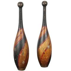 Pair of Late 19th Century Indian Clubs with Original Paint Surface