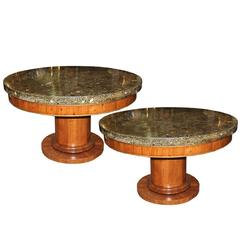 Pair of 19th Century Italian Charles X Scagliola and Cherrywood Center Tables