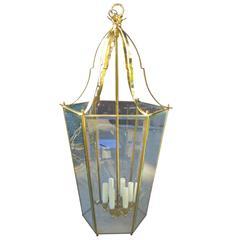 Large Midcentury Brass Hexagonal Lantern