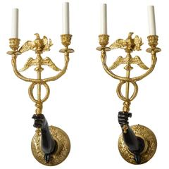 Pair of 19th Century French Empire Style Bronze Wall-Mount Candelabra/Sconces