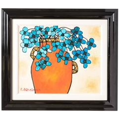 Oil on Canvas Painting of Blue Flowers in a Vase by Avi Ben Simhon