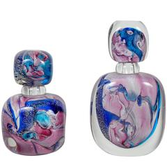 Pair of Perfume Bottles in Murano Glass, Signed by Michele Onesto