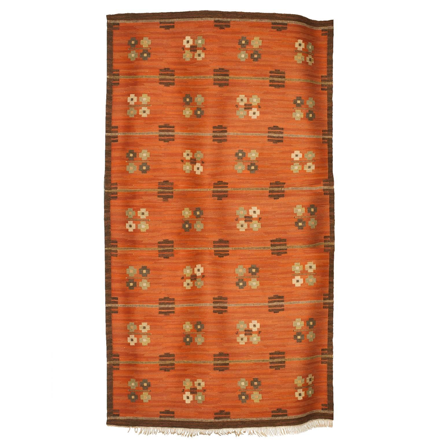 Scandinavian Modern Wool Flat-Weave Rug with Pattern on a Terra Cotta Ground