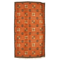 Scandinavian Modern Wool Flat-Weave Rug with Pattern on a Terra Cotta Ground