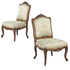 19th Century Pair of Carved Walnut Rococo Revival Side Chairs in Louis XV Taste
