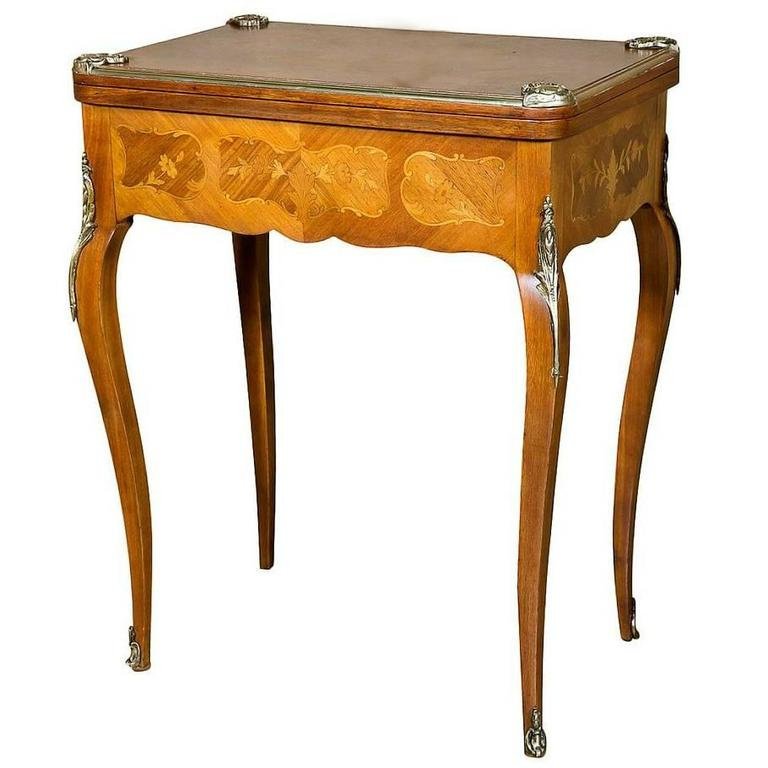 Petite French Louis XV Style Kingwood And Marquetry Inlaid Flip Top Game  Table 1
