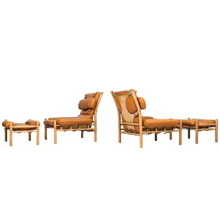 Arne Norell easy chairs and stools model Inca produced in Sweden