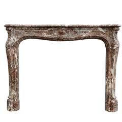 French Louis XV Style Rance Marble Fireplace, 19th Century