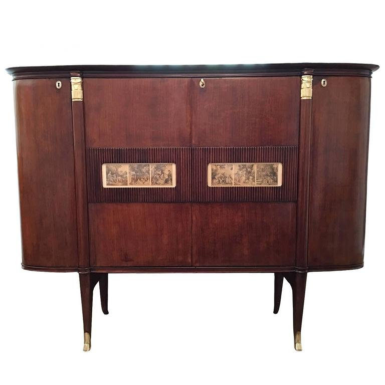 Spectacular Italian Mahogany and Gilt Bronze Bar Cabinet by Paolo Buffa