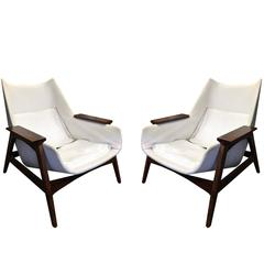 Pair of Mid-Century arm chairs and ottoman by Adrian Pearsall for Craft