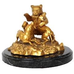 Unusual Mechanical Bronze Inkwell with a Bear Fighting Dogs, Possibly Russian