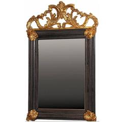 Bolection Framed Mirror with Hand-Carved Gilt Details, Aged Glass
