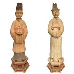 Pair of Antique Chinese Ming Dynasty Pottery Figures