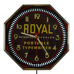 Royal Typewriter Advertisement Neon Spinner Clock by Neon Products, circa 1937