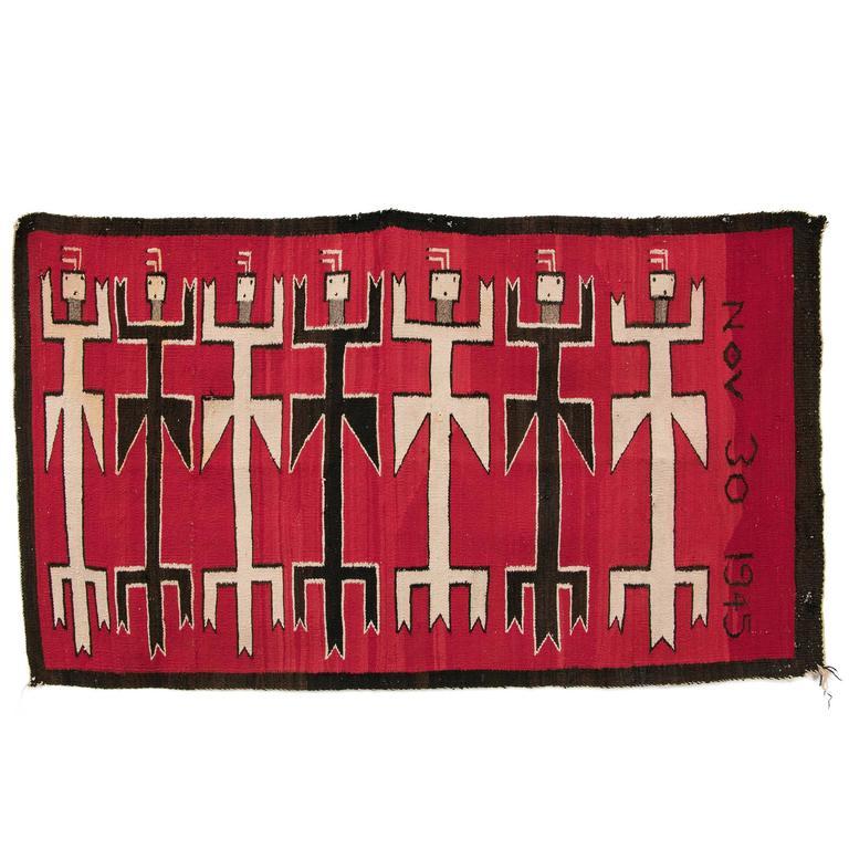 Vintage Navajo Rug, Pictorial Yei Weaving, 20th Century