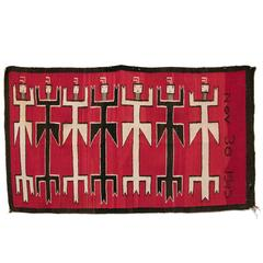 Vintage Navajo Rug, Pictorial Yei Weaving, 20th Century