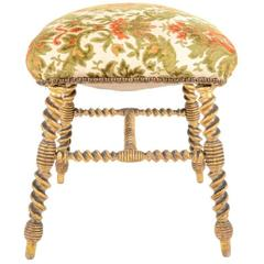 French Antique Giltwood Footstool Circa 1890