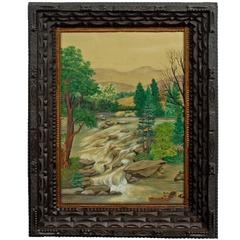Tramp Art Frame with Landscape Drawing
