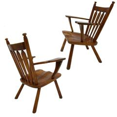 Pair of American Modern Hard Maple Lounge Chairs by Cushman by Herman DeVries
