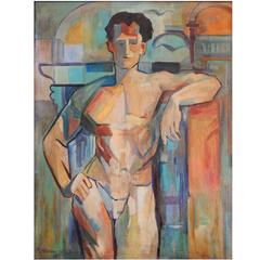"""""""Cubist Male Nude,"""" Gorgeous Art Deco Painting by Williams, 1938"""