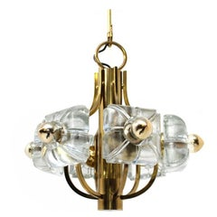 Glass & Brass Floral Chandelier 1960s Flower Pendant Lamp Mazzega Style