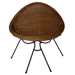 Iron and Wicker Sculptural Chair