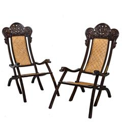 Pair of Indo-Portuguese or Portuguese Colonial Rosewood Folding Chairs