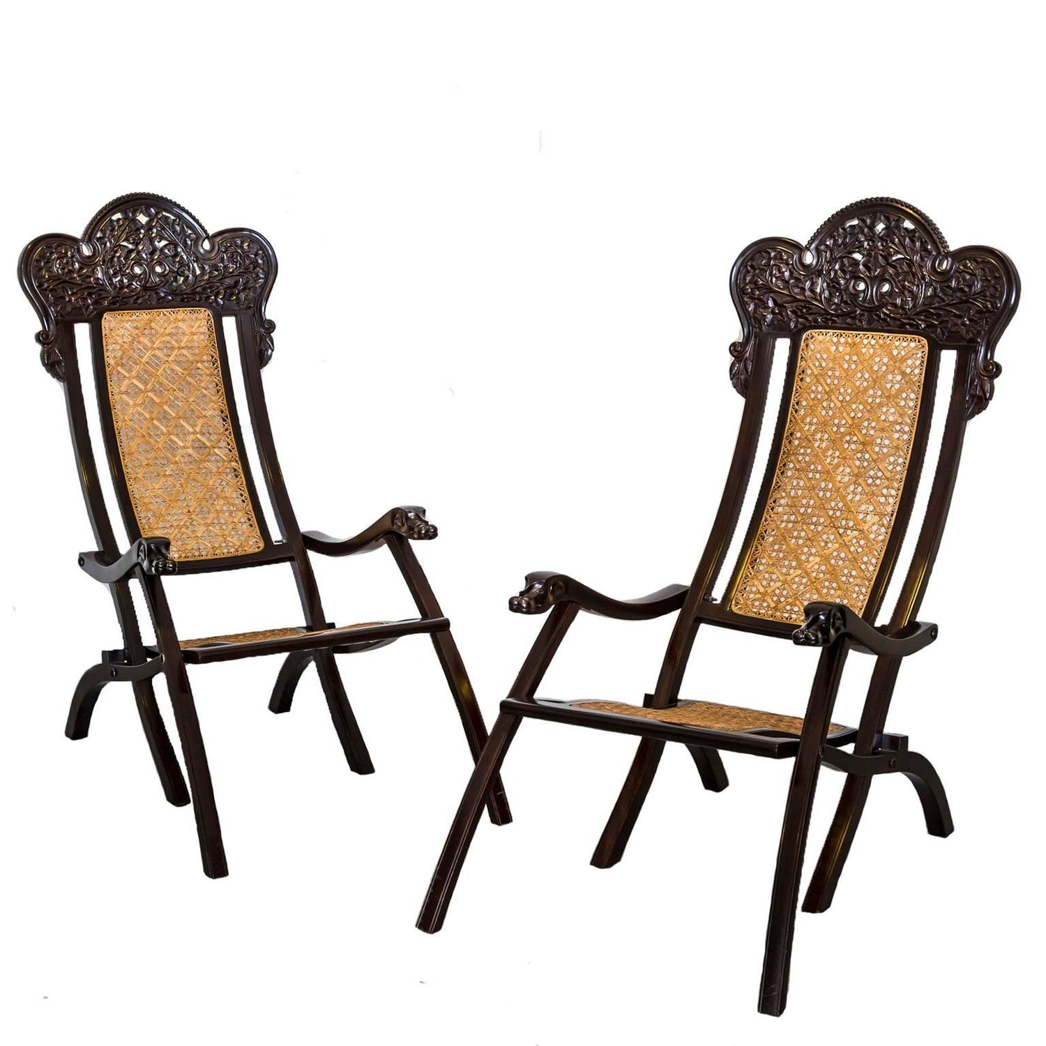 This pair of large burmese arm chairs is no longer available - Pair Of Indo Portuguese Or Portuguese Colonial Rosewood Folding Chairs For Sale At 1stdibs