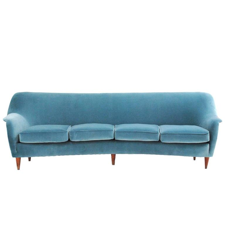 Midcentury Curved Sofa For Sale