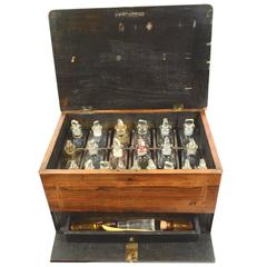 Rosewood Box with 22 Bottles with Pharmaceutical Products